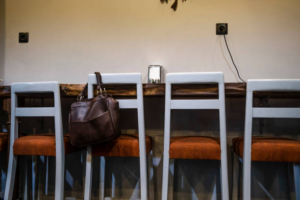 Forgotten bag in cafe stock photo