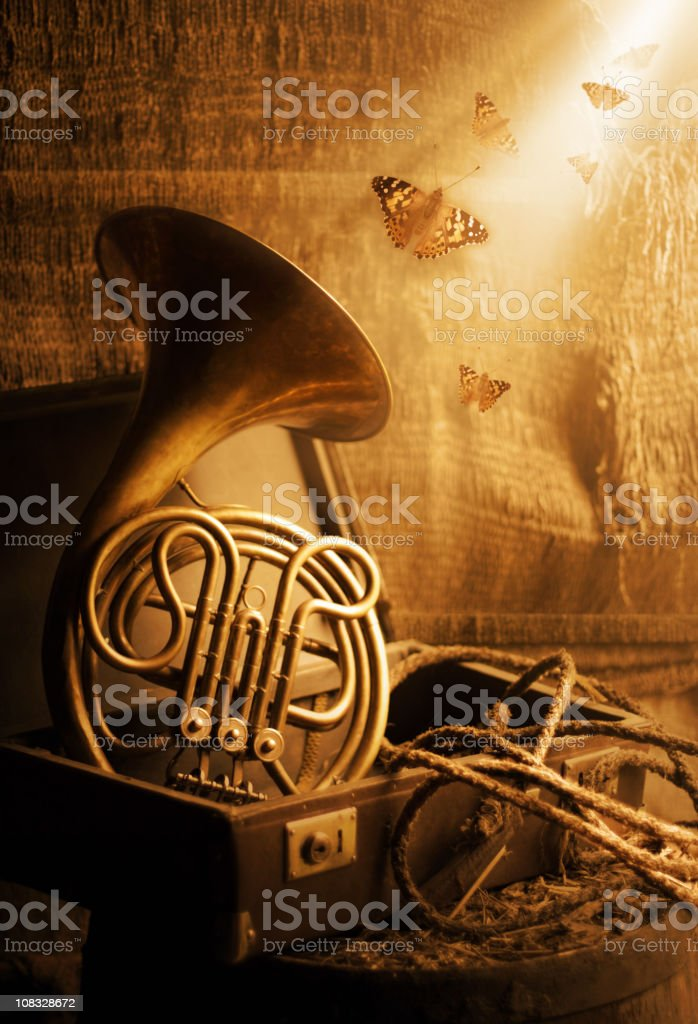 Forgotten French horn music royalty-free stock photo