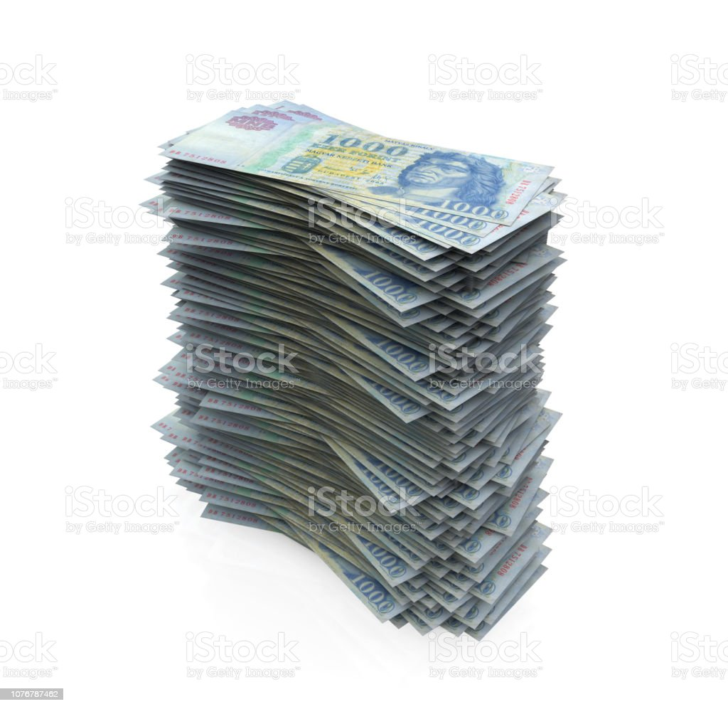 Forint Stacking stock photo