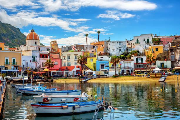 Forio town on Ischia island, Naples, Italy stock photo