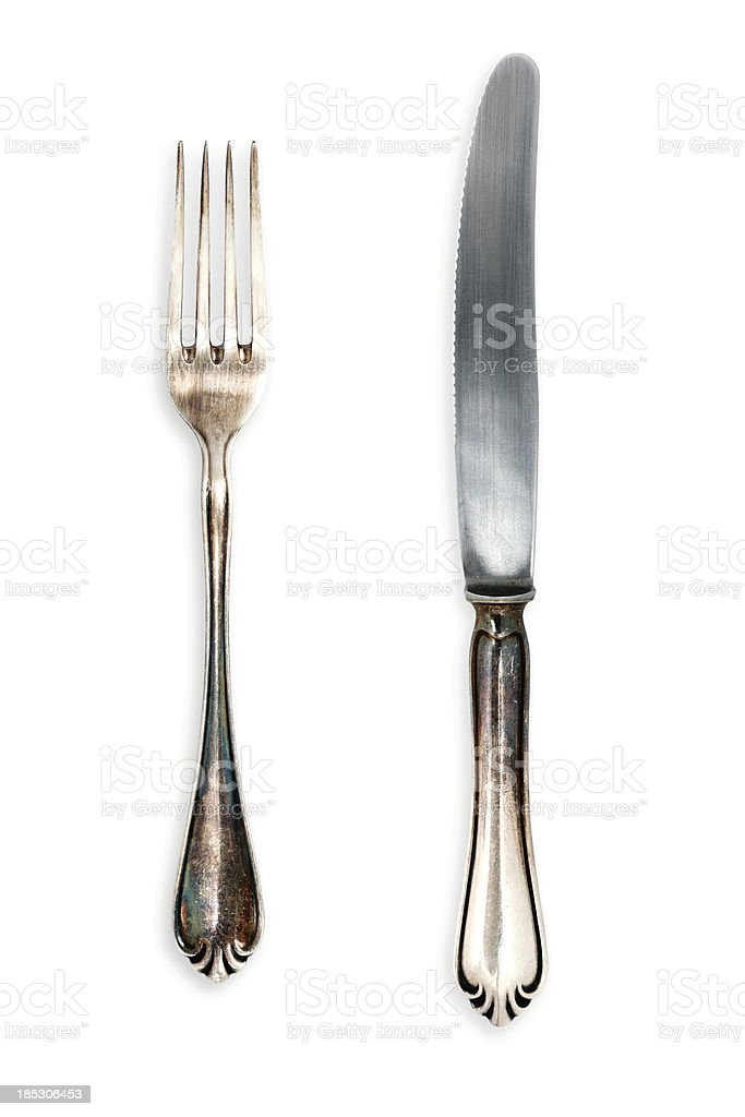 Fork and Knife, Isolated on White stock photo