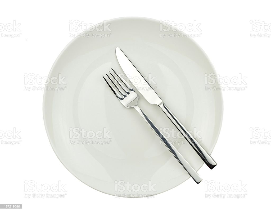 Fork and knife on plate royalty-free stock photo