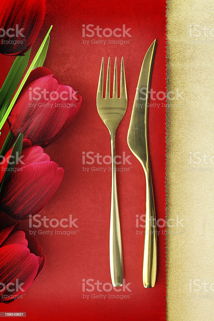 Fork and knife on vintage background royalty-free stock photo