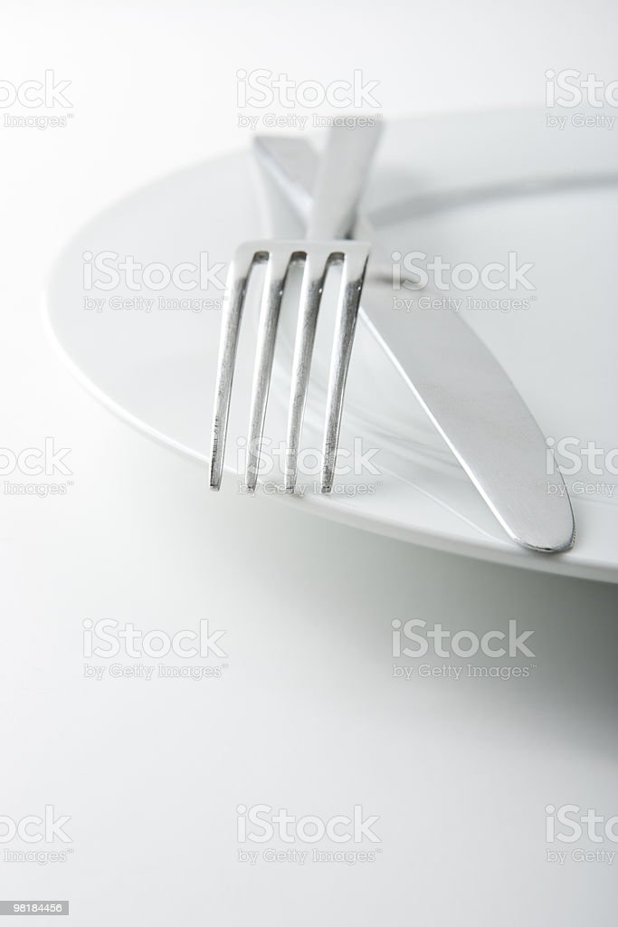 Fork and Knife on White Plate royalty-free stock photo