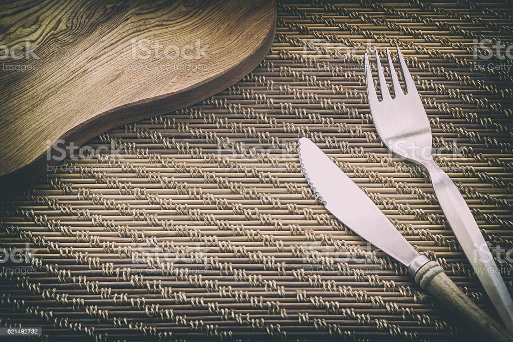 Fork and Knife on wooden table, Vintage style. foto stock royalty-free