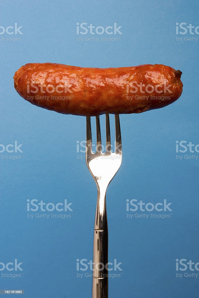 Fork and Sausage royalty-free stock photo