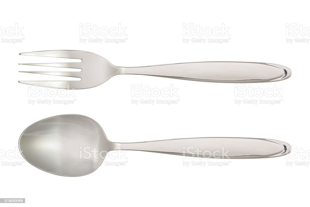 Fork and Spoon isolated on white background stock photo