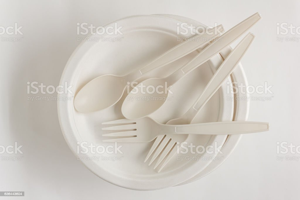 Fork and spoon with Disposable Paper Plate stock photo