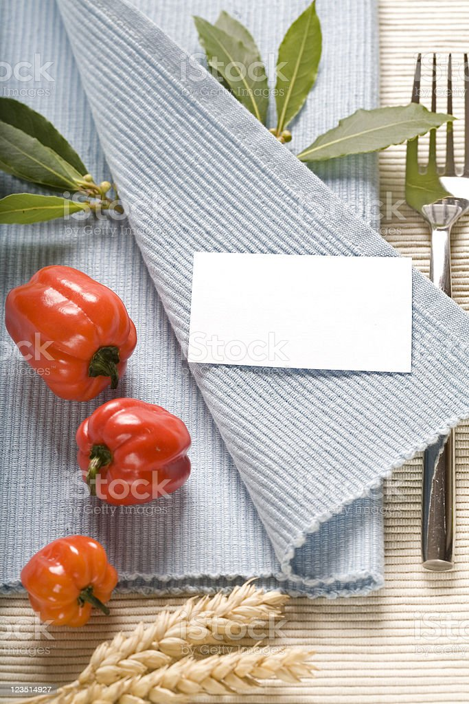 fork and vegetabels on blue napkin royalty-free stock photo