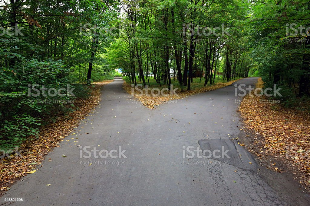 Fork asphalt roads stock photo