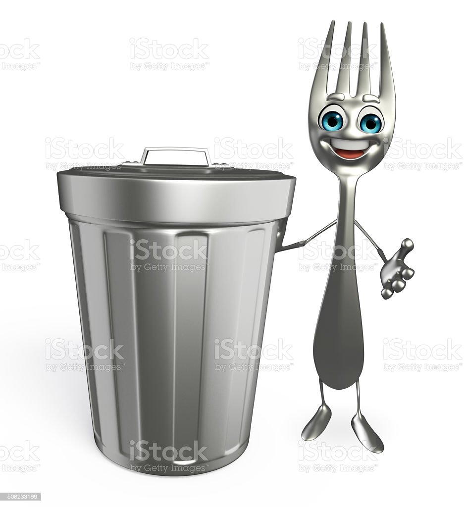 Fork character with dustbin stock photo