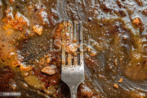 Fork in a greasy dirty pan. Close-Up. The concept of the danger of fried and fatty foods