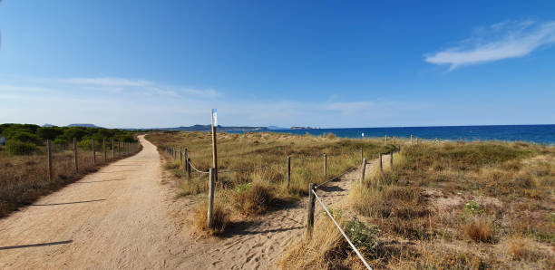 Fork in the dunes in Spain Fork in the dunes on the beach of Pals Costa Brava Spain End of July 2019 in the evening fork in the road stock pictures, royalty-free photos & images