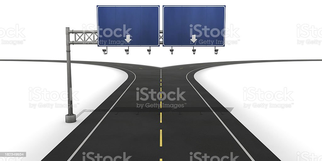 Fork in the road with blank blue sign royalty-free stock photo
