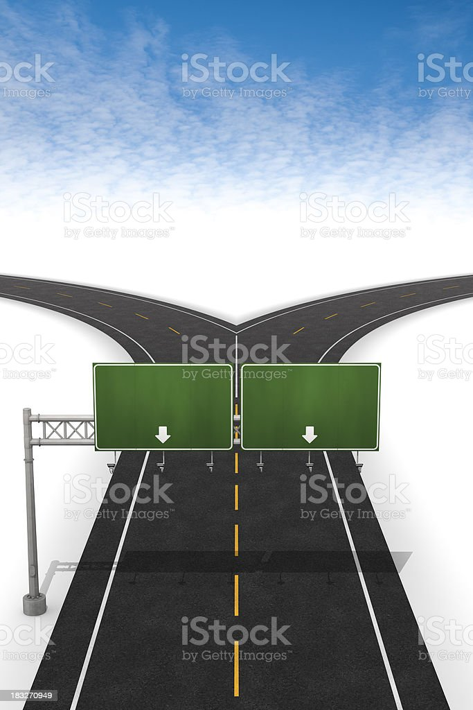Fork in the road with blank sign royalty-free stock photo