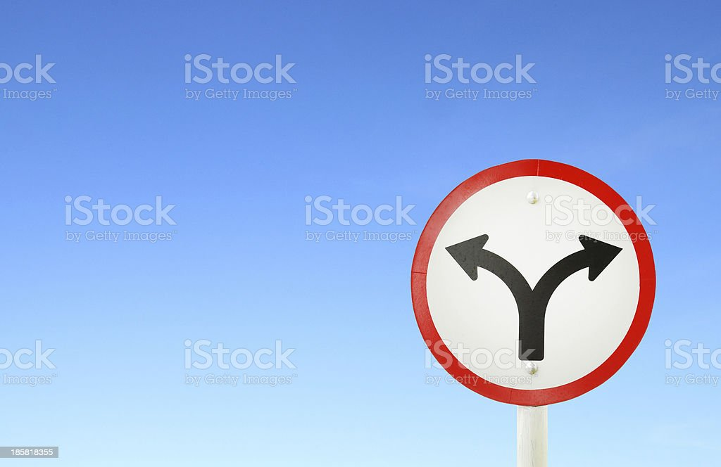 fork junction traffic sign royalty-free stock photo