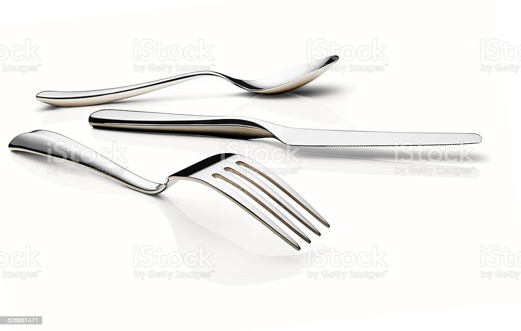 Fork, knife, and spoon stock photo