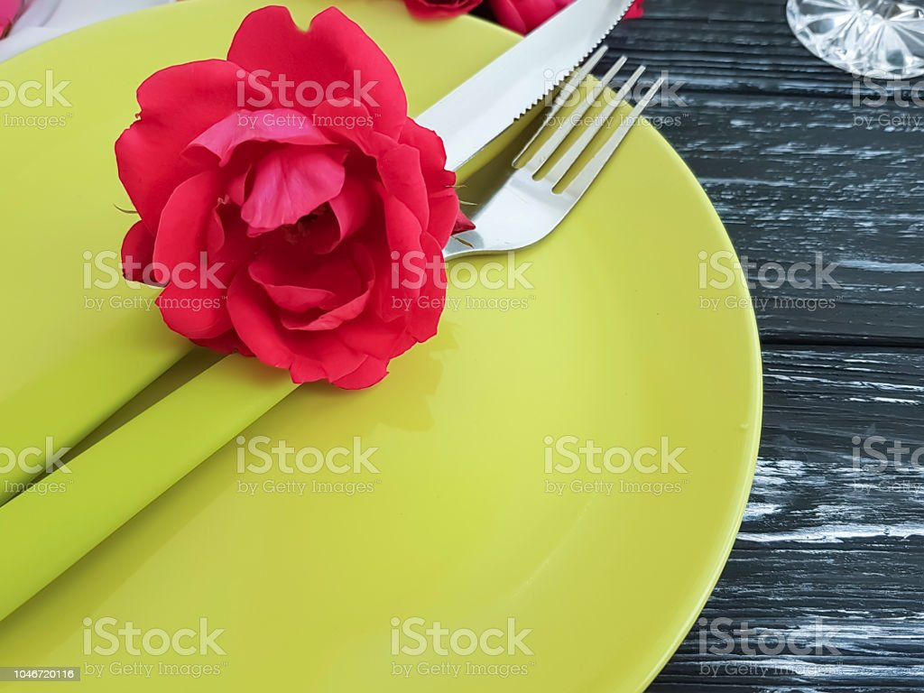 Fork Knife Plate Flower Rose On A Black Wooden Background Romantic