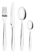 fork, knife, spoon, teaspoon, cutlery on white background, isolated, clipping path