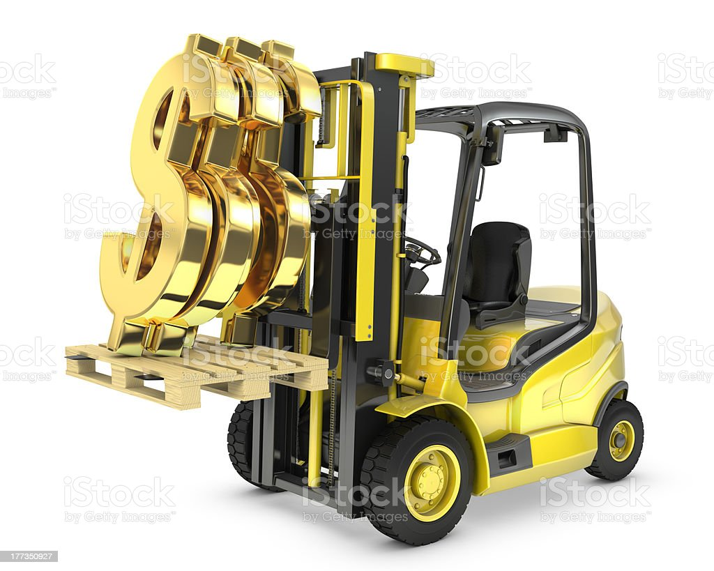 Fork lift truck lifts gold dollar sign stock photo