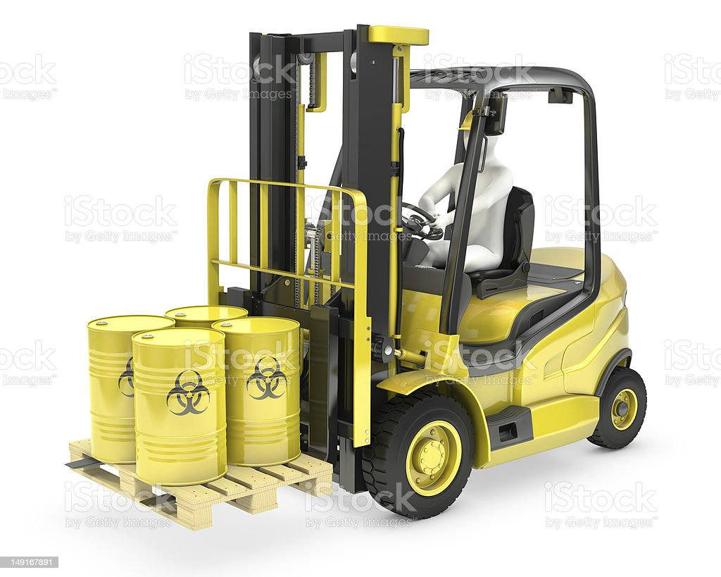 Fork lift truck with biohazard barrels royalty-free stock photo