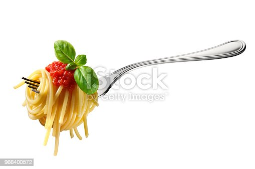 Appetizing spaghetti rolled on fork with typical Italian sauce