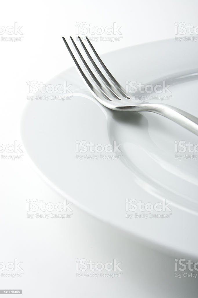 Fork on White Plate royalty-free stock photo
