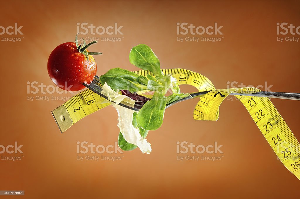 fork, salad and metro, nutritional diet concept stock photo