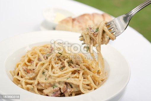 Fork of Spaghetti Carbonara, close up.