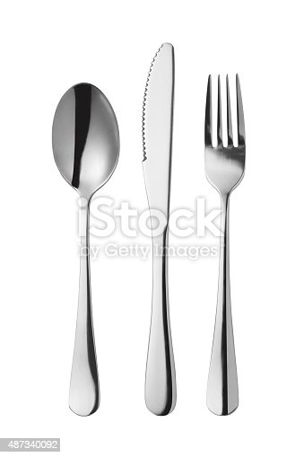 Cutlery set with Fork, Knife and Spoon isolated on white background