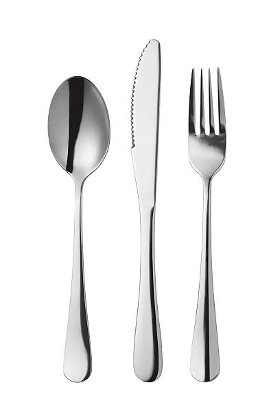 Fork spoon and knife Cutlery set with Fork, Knife and Spoon isolated on white background fork stock pictures, royalty-free photos & images