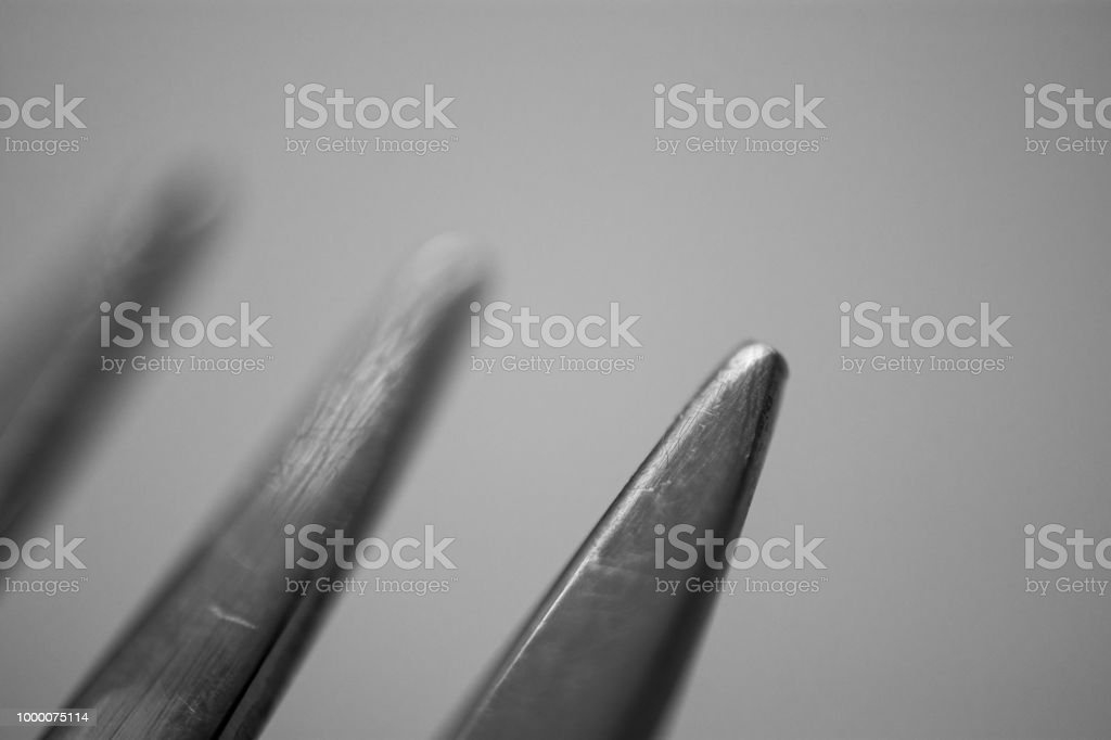 Fork tines silverware detail stock photo