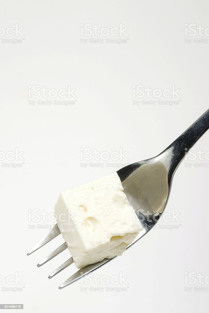 fork with feta royalty-free stock photo