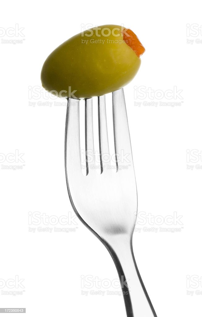Fork with Green Olive royalty-free stock photo