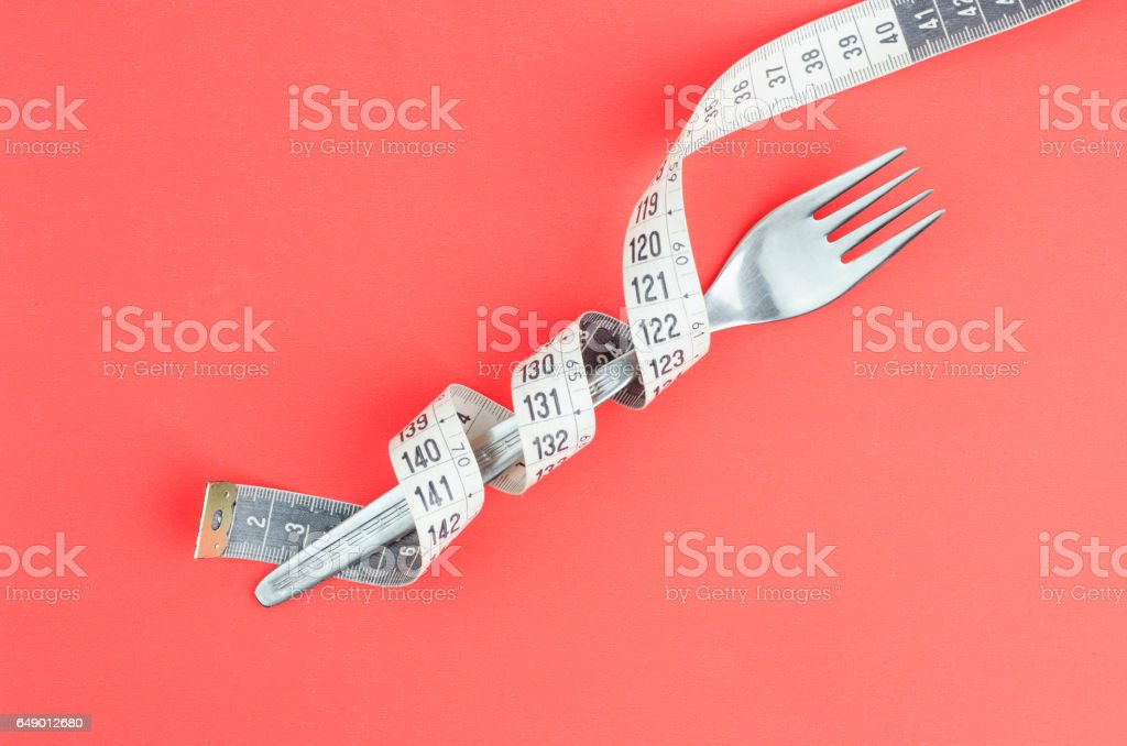 Fork With Measuring Tape stock photo