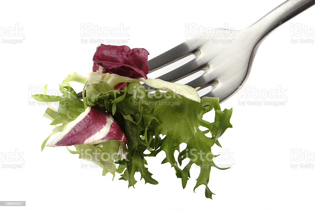 Fork with salad projects healthy eating royalty-free stock photo
