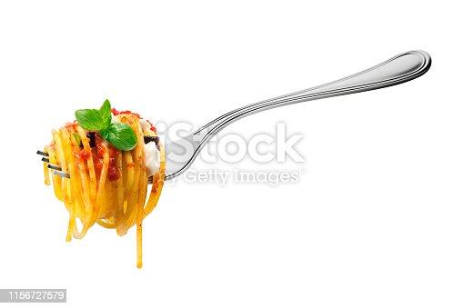 Isolated Fork with spaghetti pasta mozzarella aubergine tomatoes and basil on white background