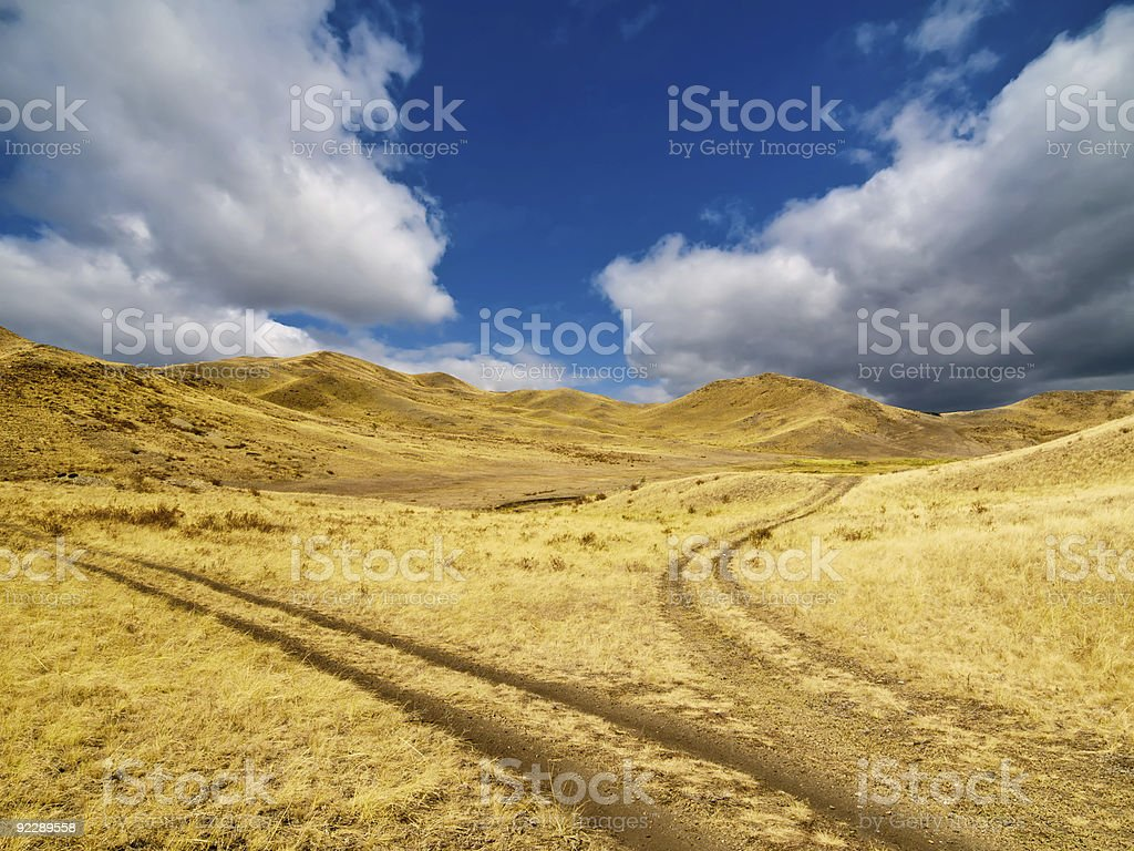 Forked road on a hillside royalty-free stock photo