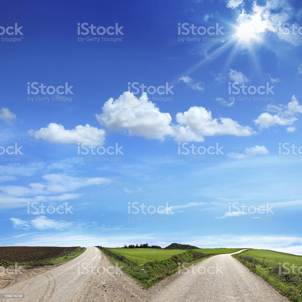 forked road stock photo