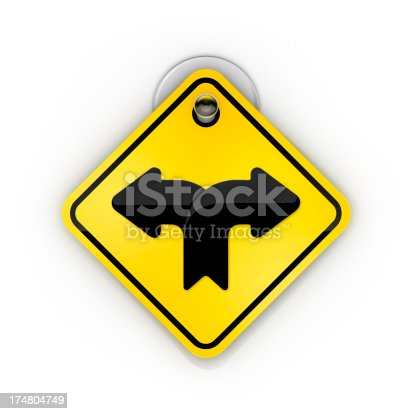 954712506istockphoto forked road Traffic sign warning Sticky 174804749