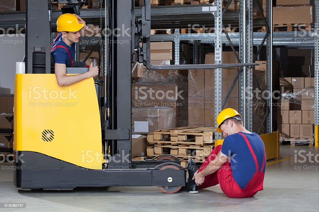 Forklift accident in storehouse stock photo