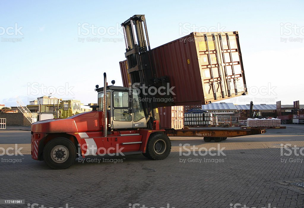 Forklift and Container royalty-free stock photo