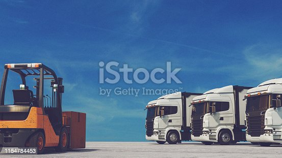 Forklift and truck background is the sky. 3D rendering and illustraion.