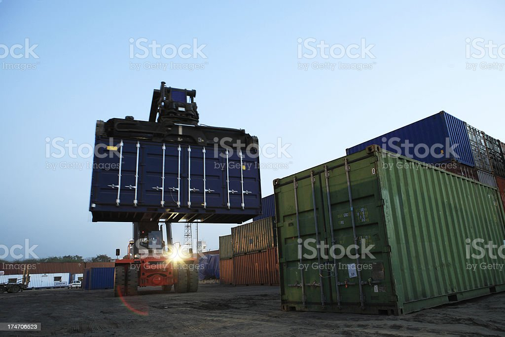 Forklift at Twilight royalty-free stock photo