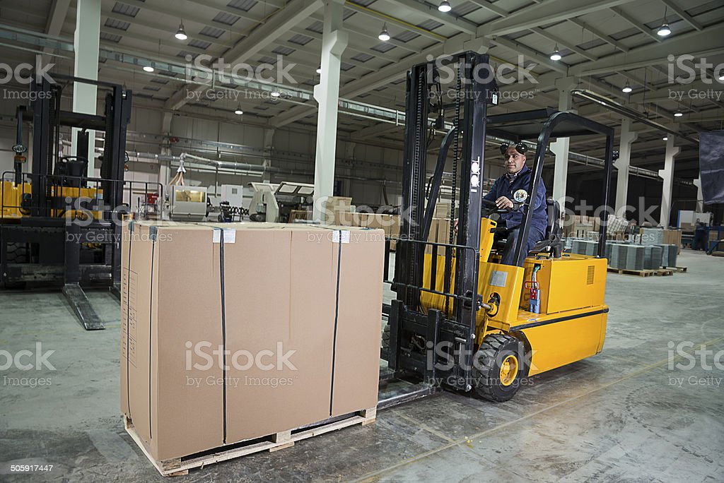 Forklift at Warehouse stock photo