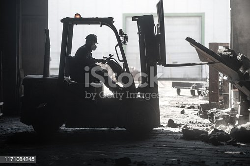 Forklift crashed inside factory