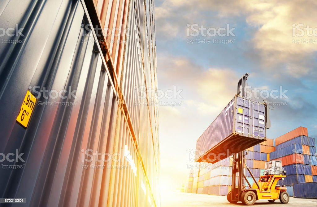 Forklift handling container box loading stock photo
