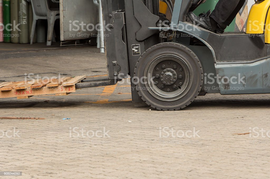 Forklift in old factory stock photo