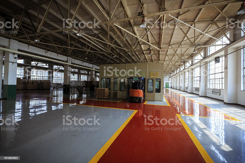 Forklift in workshop royalty-free stock photo
