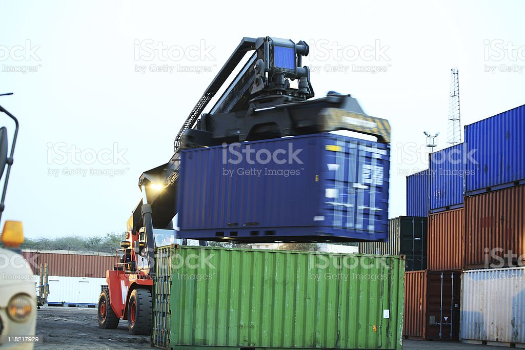 Forklift Lifting Containers royalty-free stock photo